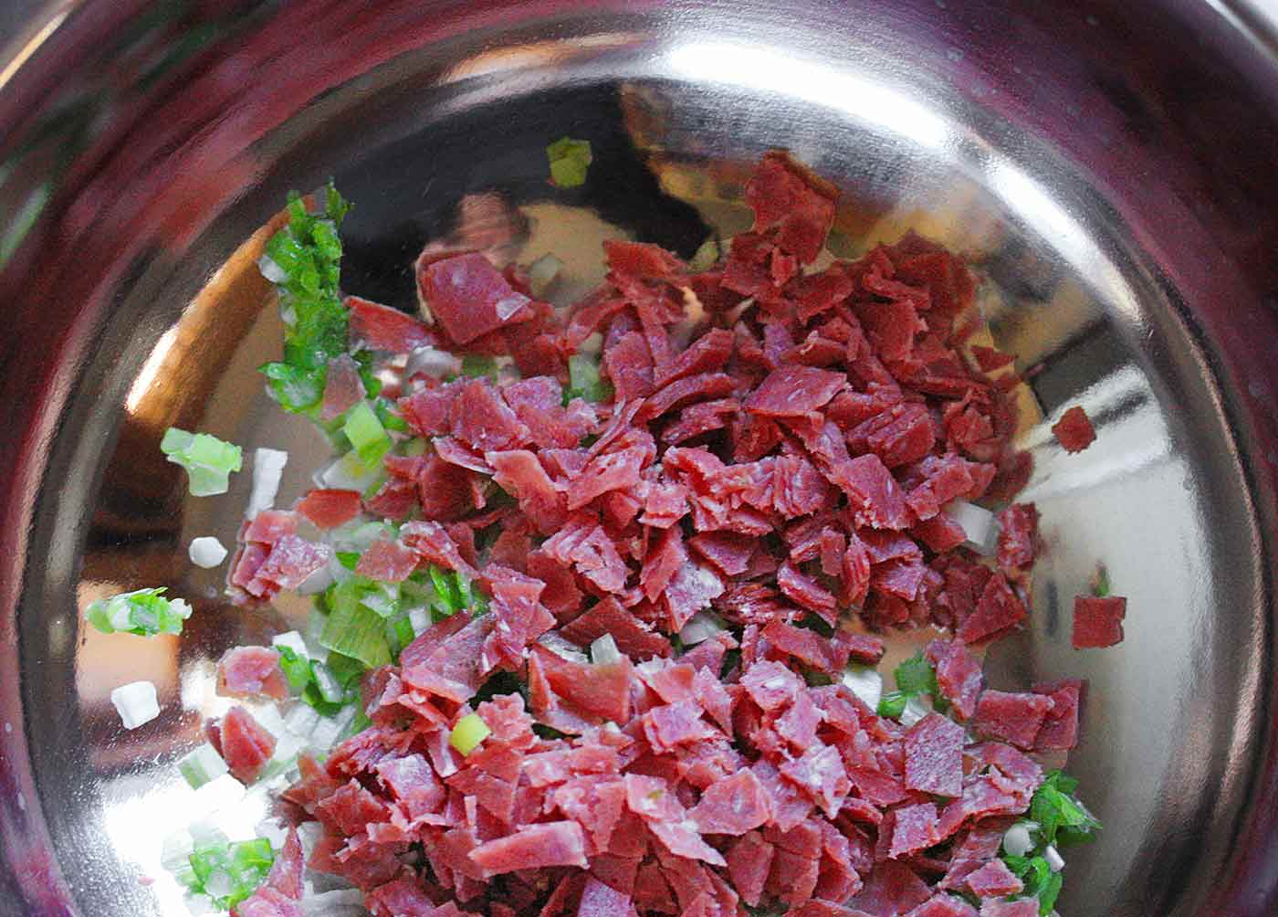 Ingredients for cheese ball with dried beef