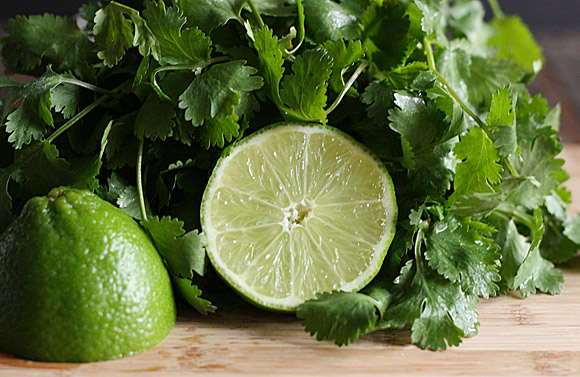 Fresh cilantro leaves with a sliced lime
