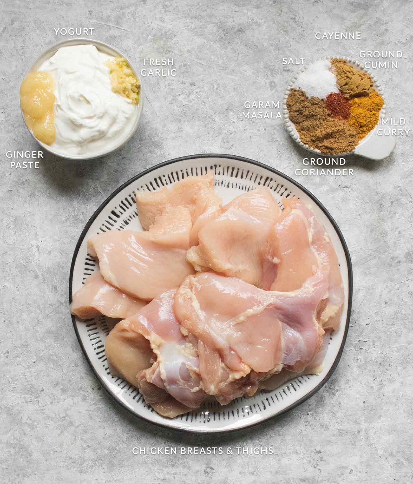 Seasoning ingredients for the chicken