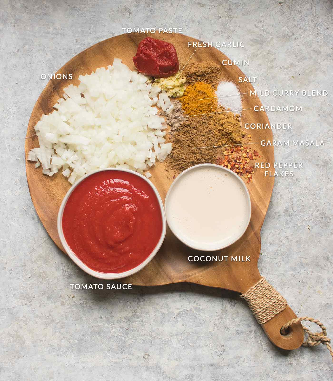 Ingredients for the masala sauce on a wooden board