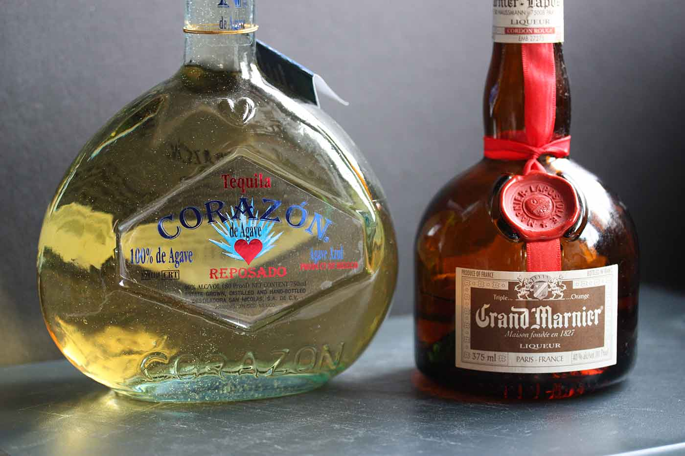 Corazon Reposado Tequila and Grand Marnier, for New Year's Margaritas