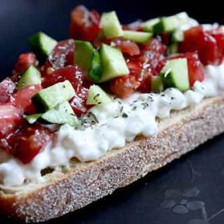 Cottage Cheese on Toast with diced vegetables