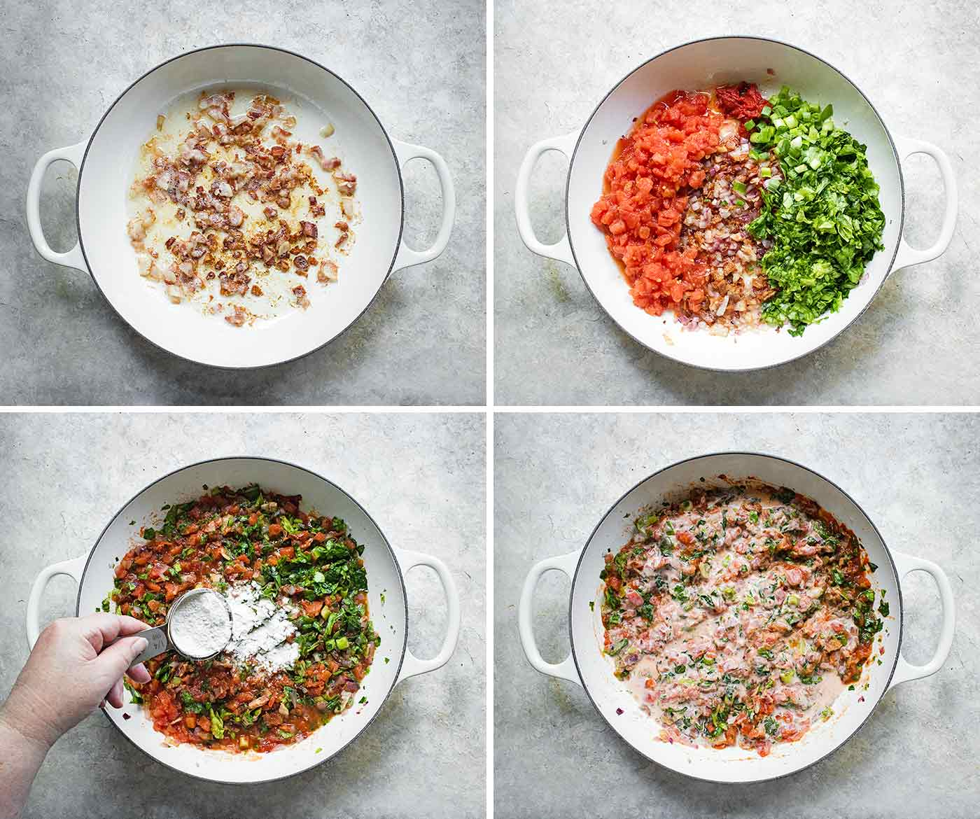Visual step-by-step for sauteeing the ingredients of BLT Soup