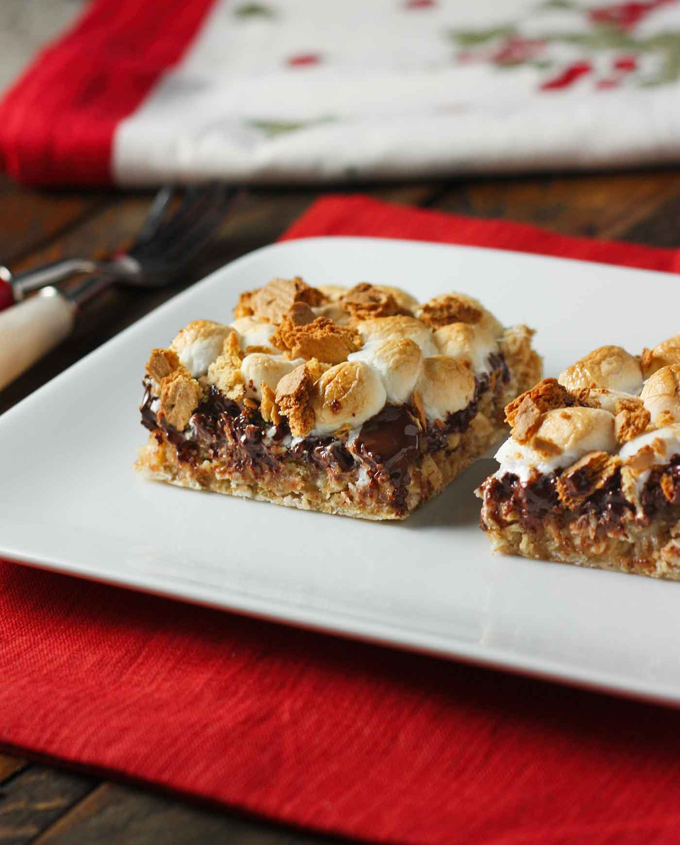 Drunken S'mores Bars on a plate
