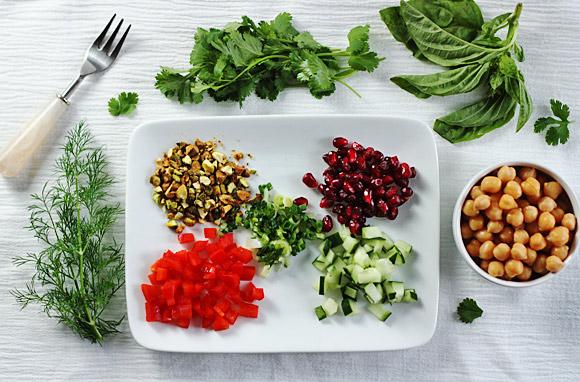 Mediterranean Farro Salad with Hummus Dressing 2