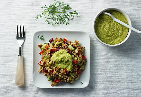 Mediterranean Farro Salad with Hummus Dressing 3