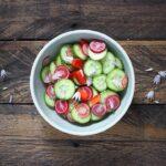 Cucumber Radish Salad with Chive Flowers