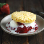 Strawberry Rhubarb Ginger Compote with Polenta Shortcakes