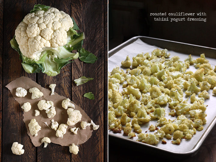roasted cauliflower with tahini yogurt dressing