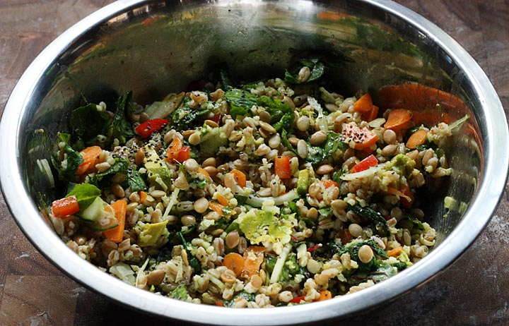 Two Summer Salads - Baby Swiss Chard & Farro Salad