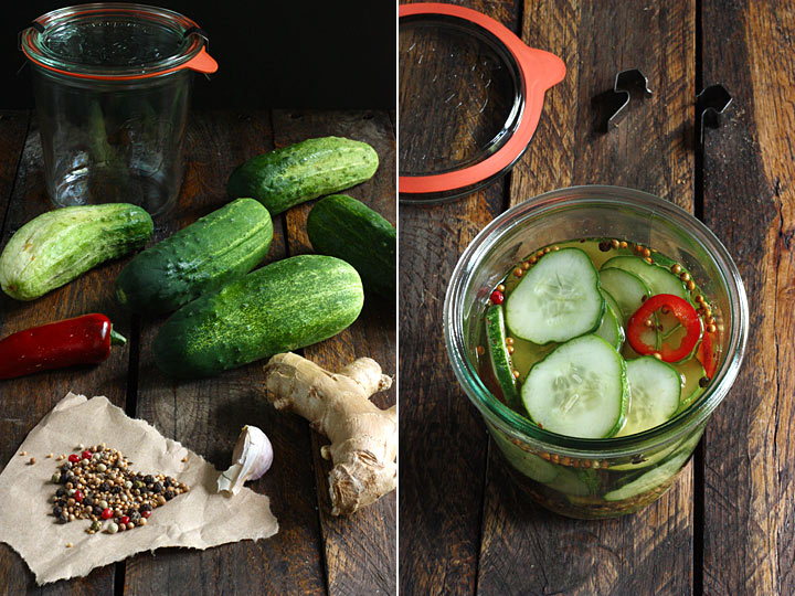 Spicy ginger refrigerator pickles