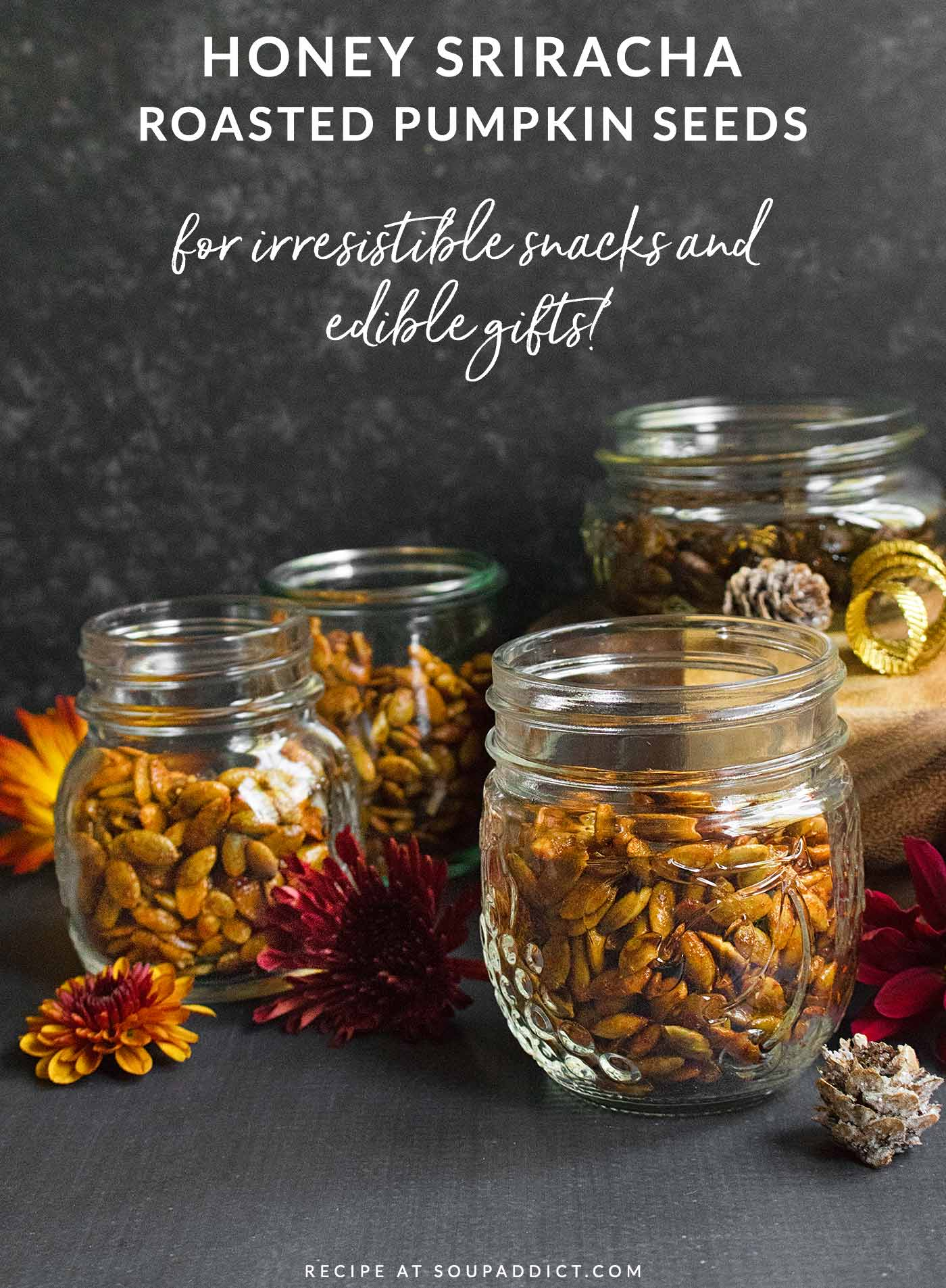 Honey sriracha roasted pepitas packed in cute jars, for gifting