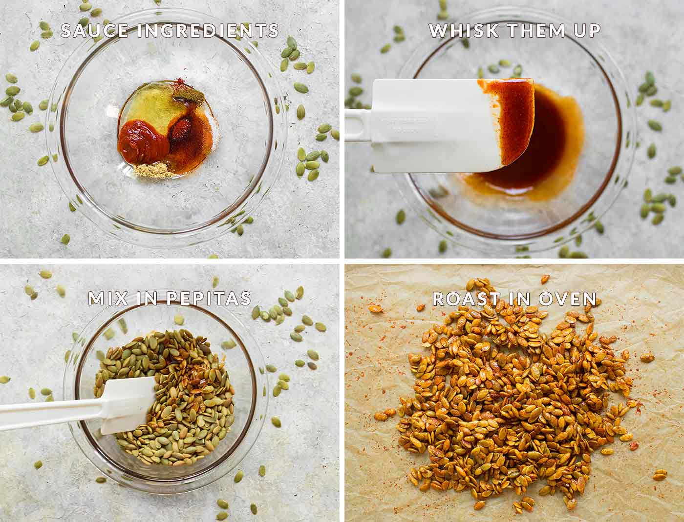 Mixing up the ingredients for honey sriracha roasted pumpking seeds