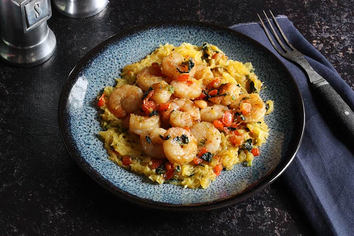Spaghetti Squash and Shrimp Stir Fry with Vegetables