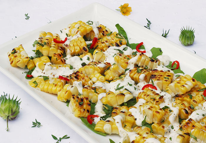 Grilled Corn Strips Salad with Tarragon Creme | SoupAddict.com