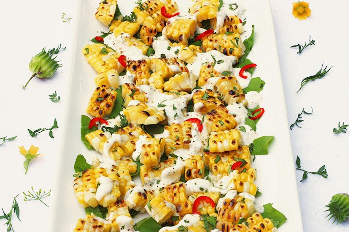 Grilled Corn Strips Salad with Tarragon Creme