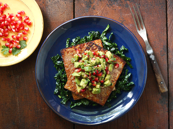 Pan Seared Tofu with Avocado Pomegranate Salsa - SoupAddict.com