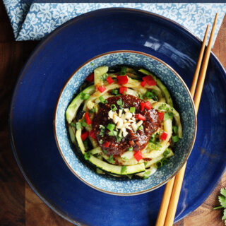 Grilled Zucchini Noodle Bowl with Peanut Sauce