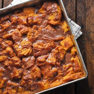 Pumpkin Bread Pudding with Nutella Glaze