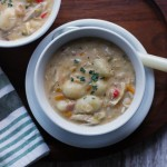 Veggie-loaded chicken gnocchi soup