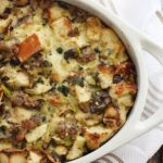 Wild Mushroom Bread Pudding with Sausage and Gruyere
