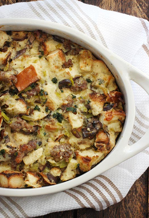 Wild Mushroom Bread Pudding with Sausage and Gruyère | SoupAddict.com
