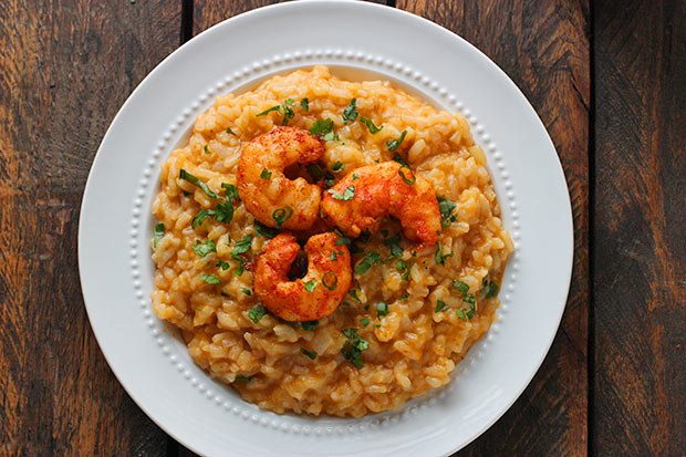 Oven Baked Thai Risotto with Roasted Shrimp