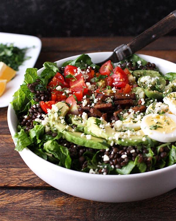 Vegetarian Cobb Salad Lentil Bowl | SoupAddict.com