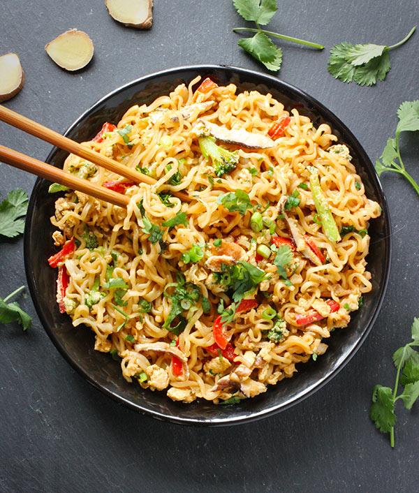 Ramen Noodle Stir Fry in a bowl with chopsticks