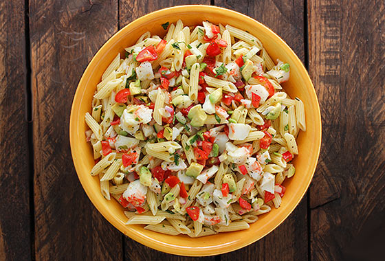 Avocado and Crab Pasta Salad with Grapefruit Tarragon Vinaigrette