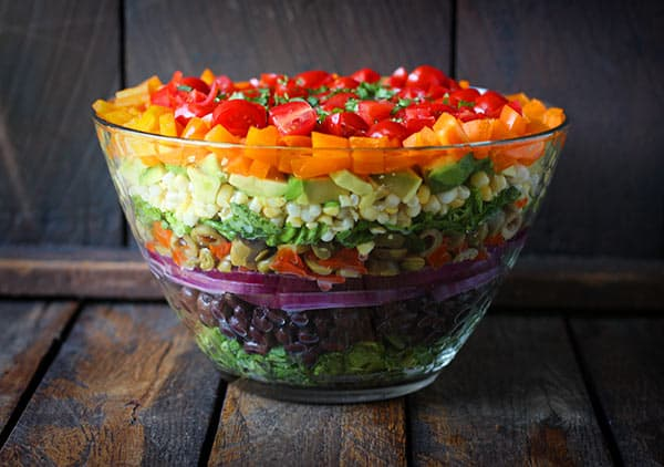 Seven Layer Salad with Creamy Salsa Vinaigrette - SoupAddict.com