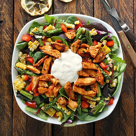 Grilled BBQ Blue Cheese Chicken Salad