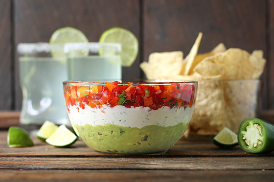 Triple Layer Guacamole Creamy Cotija and Confetti Salsa Party Dip ...