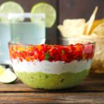Triple Layer Guacamole Creamy Cotija and Confetti Salsa Party Dip | SoupAddict.com