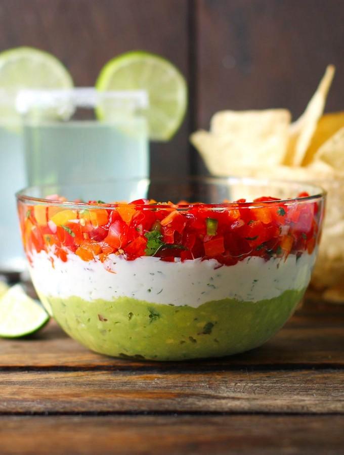 Triple Layer Guacamole Creamy Cotija and Confetti Salsa Party Dip | SoupAddict.com