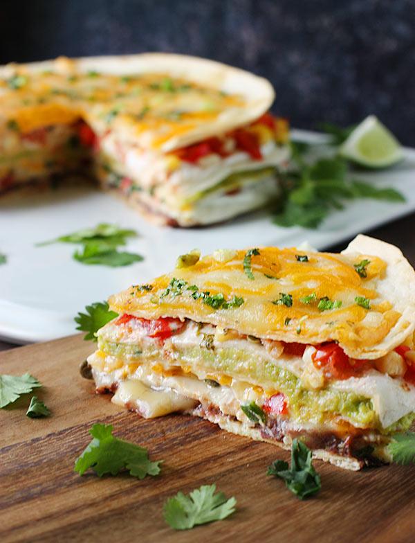 Super Stacked Quesadilla Pie | SoupAddict.com
