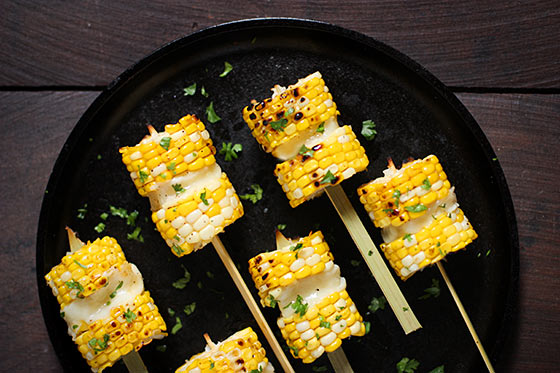 Grilled Corn Kebabs with Salty Cheese