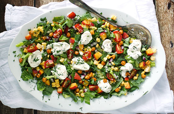 Summer Chopped Salad with Burrata and Dreamy Dill Buttermilk Dressing