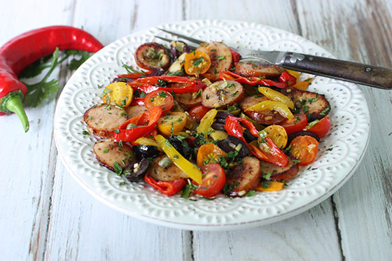 Frying Peppers, Cherry Tomatoes & Chicken Sausage Saute