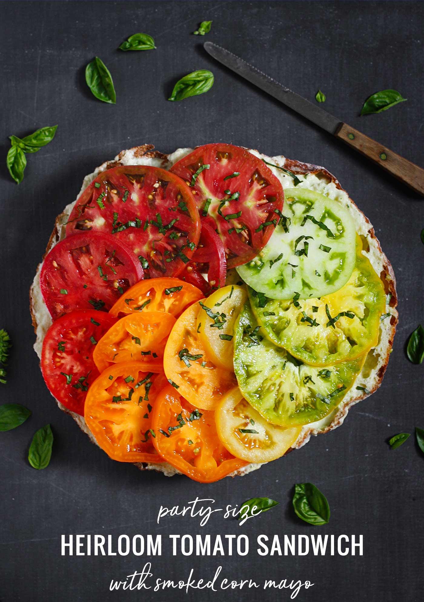 Heirloom Tomato Sandwich with rainbow tomatoes