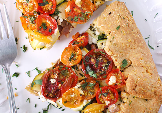Loaded Heirloom Tomato Galette with Cornmeal Crust