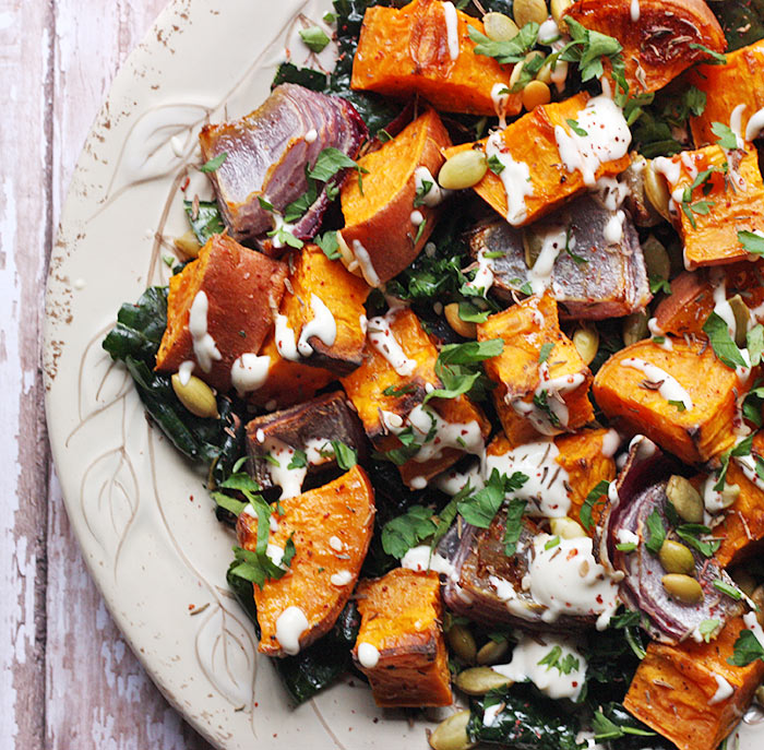 Roasted Sweet Potatoes with Tahini Drizzle | SoupAddict.com