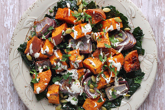 Roasted Sweet Potatoes with Tahini Drizzle