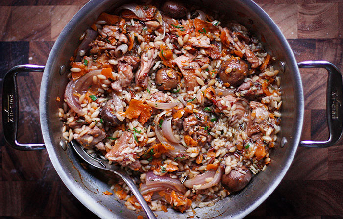 Oven Baked Chicken and Wild Rice Skillet with Kabocha Ribbons | SoupAddict.com. Easy and comforting one-skillet meal with wild rice, chicken, mushrooms, and kabocha squash, baked in the oven.