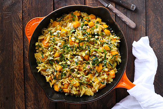 Orzo and Butternut Squash Skillet with Kale and Blue Cheese
