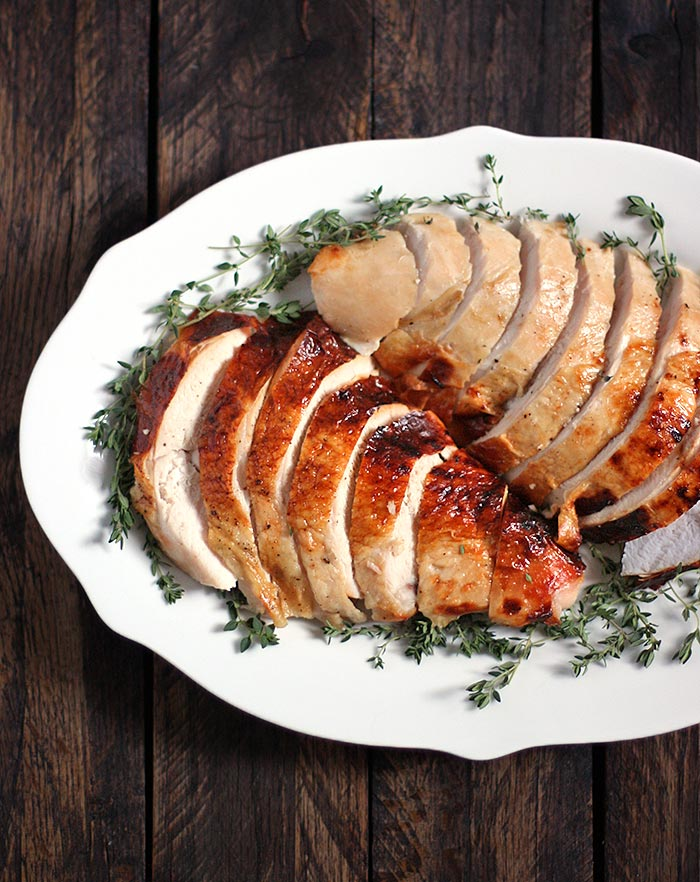 A small Thanksgiving dinner party is perfectly suited for a roasted whole bone-in turkey breast. Brined in a rich apple cider solution and basted in butter, a golden, roasted turkey breast will be the centerpiece of your celebration. Even if it's just turkey for two! Get the recipe at SoupAddict.com