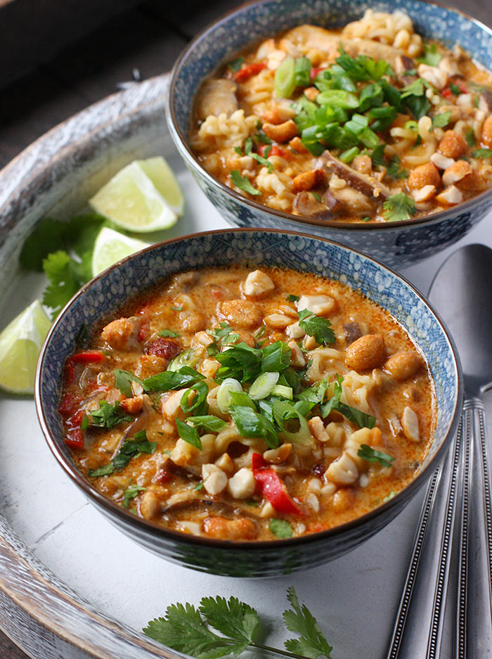 Two bowls of Vegetarian Thai Peanut Soup