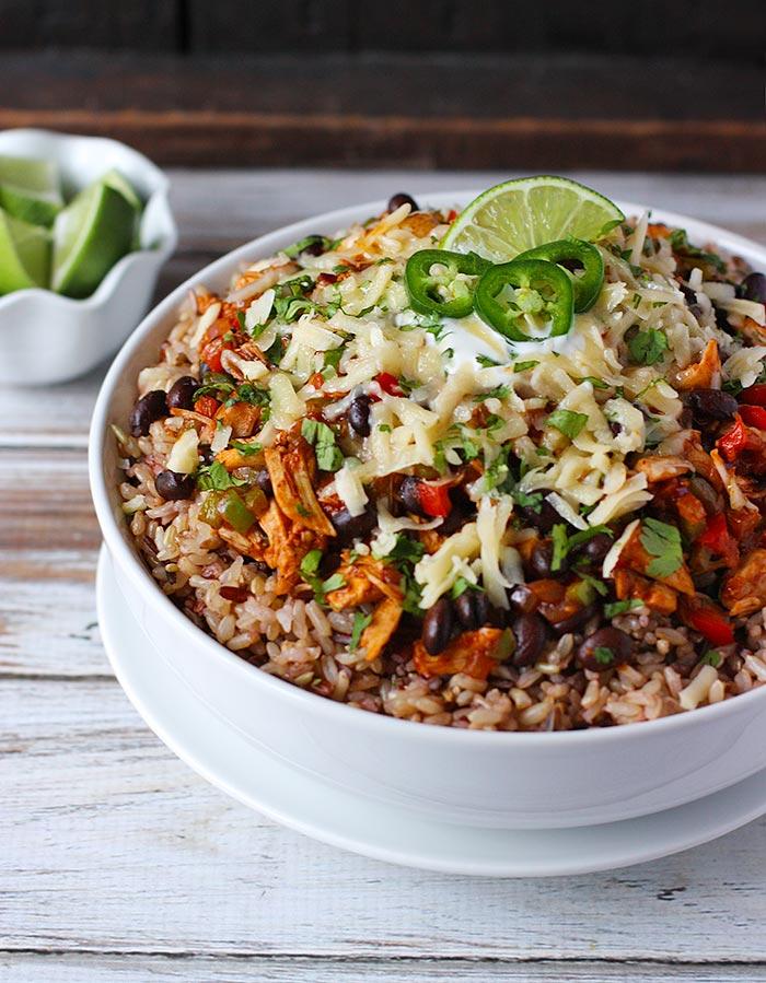 Cheesy Chicken Enchilada Bowls   SoupAddict.com