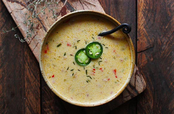 Jalapeño Beer Cheese Soup | SoupAddict.com - a delicious, winter-comfort soup that cheesy, spicy, and made extra savory with pancetta.