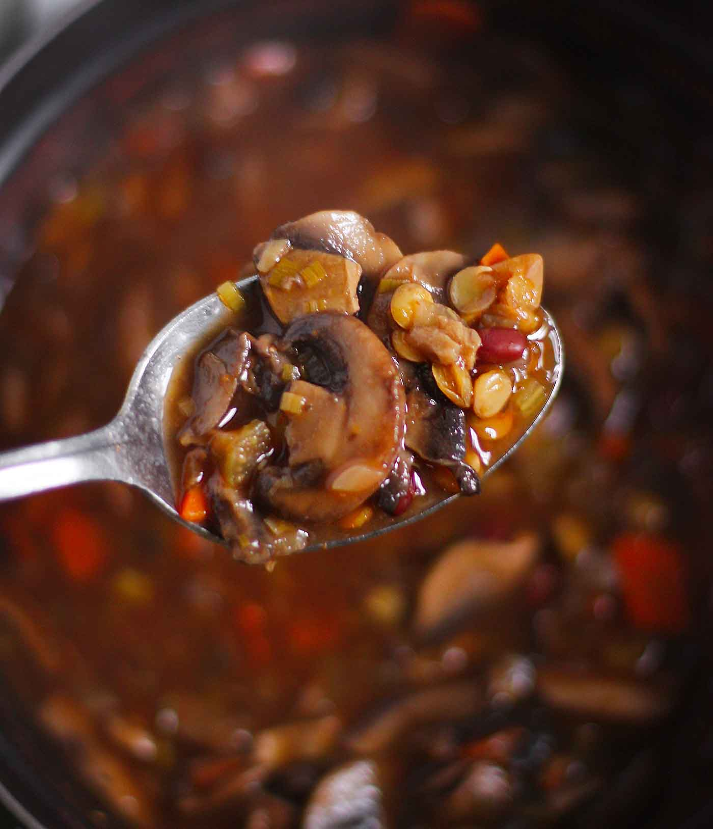 A spoonful of Mushroom Lentil Adzuki Bean Soup